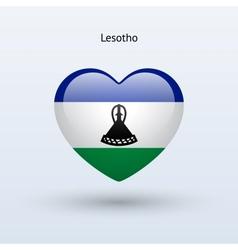 Love Lesotho symbol Heart flag icon vector