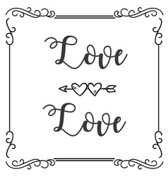 love love abstract heart arrow square frame backgr vector image