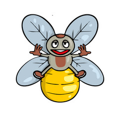 lustration a friendly cute bee vector image