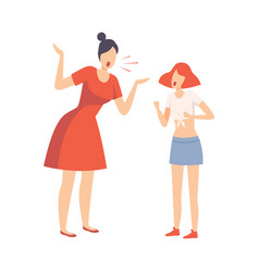 mother scolding her teenager daughter conflict vector image
