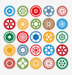 multicolor gear set vector image