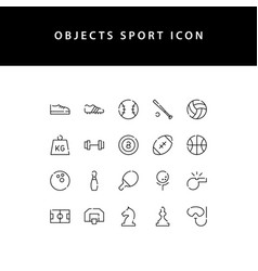object sport line style icon set vector image