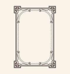 Old vintage frame with cut angles and thin swirls vector