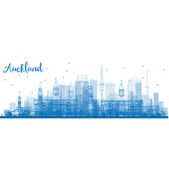 Outline auckland skyline with blue buildings vector