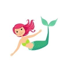 Pink Hair Mermaid In Green Swimsuit Top Bra Fairy vector