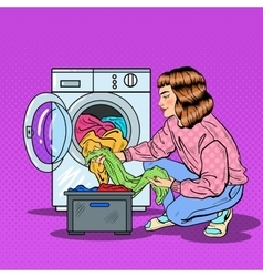 Pop Art Housewife Doing Laundry in Washing Machine vector image