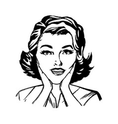 Portrait woman pop art surprised expression sketch vector