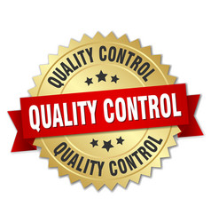 Quality control round isolated gold badge vector