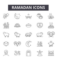 ramadan line icons signs set outline vector image
