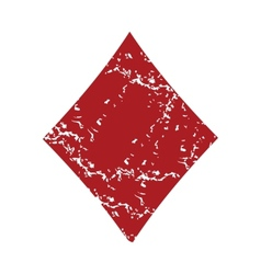 Red grunge diamonds card logo vector