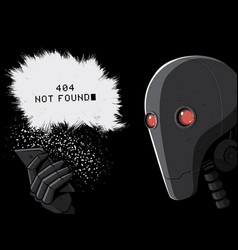 robot and smartphone 404 error page vector image