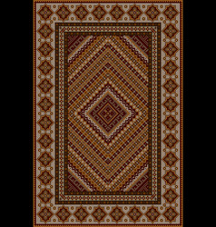 Rug in brown shades with original pattern in mid vector
