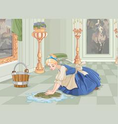 Sad cinderella cleaning vector