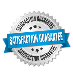 Satisfaction guarantee round isolated silver badge vector