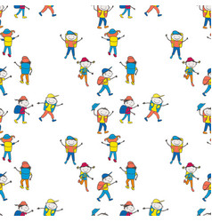 seamless background cartoon cheerful teen vector image