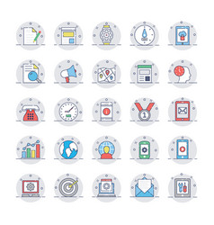 Seo and marketing colored line icons 2 vector