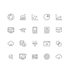 set 20 data analysis thin line icons vector image