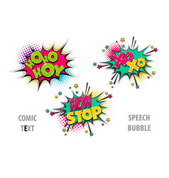 Set comic text speech bubble xoxo hoho vector
