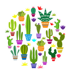 Set of of cute cactus vector