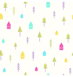 Small houses and trees pattern vector