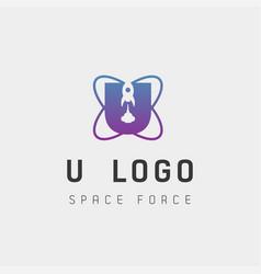 Space force logo design u initial galaxy rocket vector