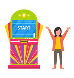 Start on screen game machine happy kid child vector