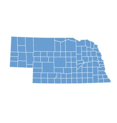 State map of Nebraska by counties vector