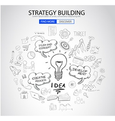 Strategy Building concept with Doodle design style vector image