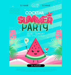 summer cocktail party poster with watermelon vector image