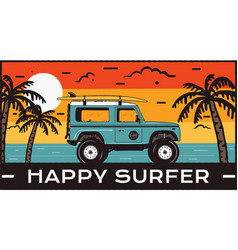 surfing logo emblem vintage hand drawn travel vector image