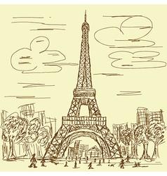 vintage hand drawn of eifel tower Paris France vector image