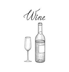 wine set wine glass bottle lettering cafe menu vector image