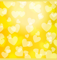 yellow gold bokeh heart pattern vector image