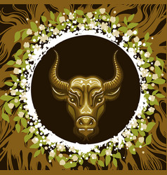 zodiac sign taurus in earth circle vector image