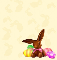 chocolate Easter bunny background vector image