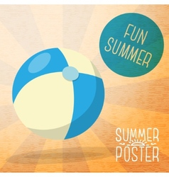 Cute summer poster - blue and yellow striped beach vector image vector image
