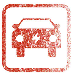 Electric power car framed textured icon vector