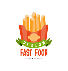 fast food logo design badge with french fries vector image vector image