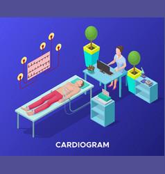 Isometric cardiogram medical procedure template vector