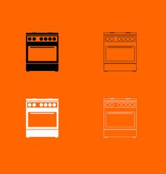 kitchen stove black and white set icon vector image