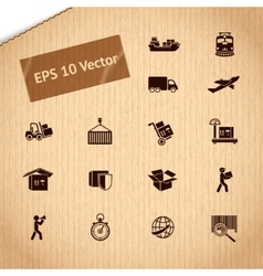 Logistic transportation service icons set vector image vector image