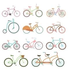 Vintage bicycle set riding bike transport flat vector image vector image