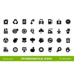 32 environmental icons vector image vector image