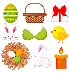 cartoon easter icon set 9 elements vector image vector image