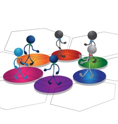 People team on blocks vector image vector image