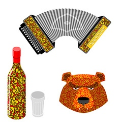 Russian symbol icon set Bear vodka and accordion vector image vector image