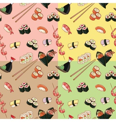 seamless patterns with japanese food vector image vector image