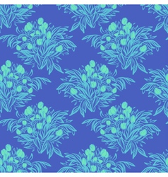 Seamless wallpaper pattern with tulips in vase vector image vector image