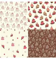 Set of cake seamless patterns vector image