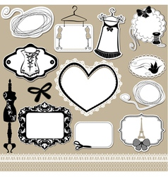 Set of frames symbols tools and accessories vector image